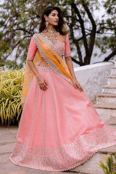 Shop Anushree Reddy Embroidered Lehenga Set , Exclusive Indian Designer Latest Collections Available at Aza Fashions Raw Silk Lehenga, Half Saree Lehenga, Red Lehenga, Indian Bridal Lehenga, Party Wear Lehenga, Banarasi Lehenga, Lehenga Suit, Lehenga Blouse, Pakistani Bridal