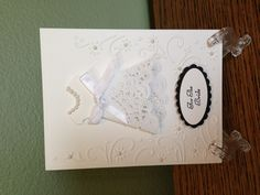 Bridal shower card. Used a doily for the dress bottom.