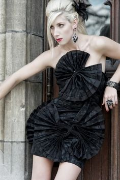 SAMPLE SALE Black Fan Cocktail Dress by CobarCollection on Etsy, $999.00