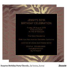 Surprise Birthday Party Chocolate Gold Zebra 13 Cm X 13 Cm Square Invitation…