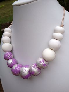White, Lilac Purple with Silver Speckle Polymer Clay Beaded Necklace on Natural Leather on Etsy, $25.00 AUD