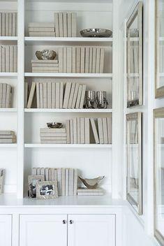 Inspiration Home Study - Gray Linen Covered Books, Michael Aram Accessories - Linda McDougald Design | Postcard from Paris Home