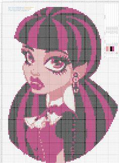 Monster High Draculaura - Cross Stitch Punto de cruz 18 x 25 centimetros 99 x 137 puntos 5 colores DMC