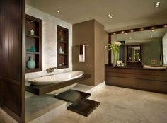 Contemporary Residence Boca Raton, Florida - contemporary - bathroom - miami - Interiors by Steven G Bathroom Design Small, Modern Bathroom, Bathroom Interior, Home Interior, Interior Design Photos, Transitional Decor, Modern House Design, Kohler Bathroom, Downstairs Bathroom