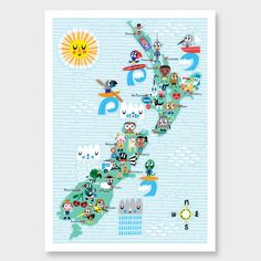 NZ Map Characters Kids Print by Beck Wheeler NZ Art Prints, Art Framing Design Prints, Posters & NZ Design Gifts | endemicworld