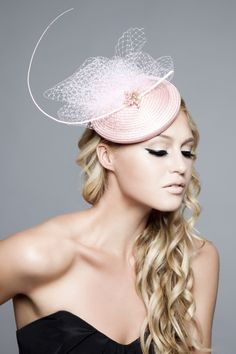 Emma Brown Couture Millinery - Paige, Straw buntal smartie with vintage French netting and quill.