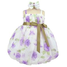 Lavender Flourishing Chiffon Bubble Infant Dress