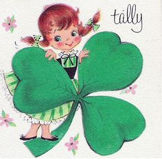 So cute! Vintage Cards, Vintage Postcards, Vintage Images, Cute Girl Illustration, Girl Illustrations, St Patricks Day Cards, Saint Patricks, Erin Go Bragh, Sewing Cards