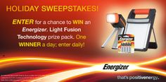 I just entered to %23WIN an Energizer Light Fusion prize pack. You can too! One winner a day; enter daily! %23sweepstakes %23thatspositivenergy