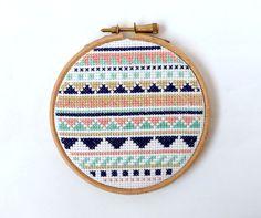 Pastel Cross Stitch Aztec Pattern Framed by StitchCity on Etsy, £12.00