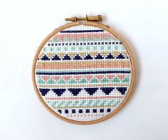 Pastel Cross Stitch Aztec Pattern Framed by StitchCity on Etsy, £12.00