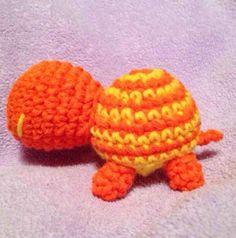 Crochet Orange & Yellow Striped Amigurumi Turtle