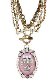 Girlie Grunge Skull Pendant Multi Chain Necklace