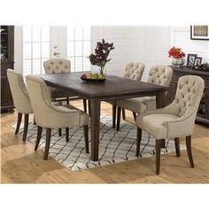 Geneva Hills Large Table and Upholstered Chair Set by Jofran - Furniture World - Dining 7 (or more) Piece Set