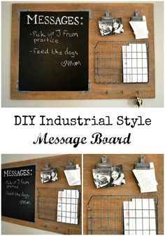 DIY Industrial style message board Looking to organize the whole family? This DIY Industrial Style Message Board is a breeze to make and to customize plus is so pretty! Industrial Home Design, Industrial House, Industrial Style, Kitchen Industrial, Industrial Interiors, Industrial Office, Industrial Farmhouse, Vintage Industrial, Farmhouse Style