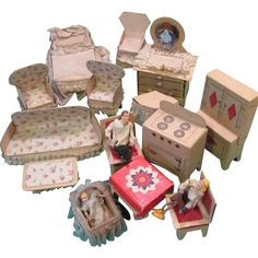 Cardboard Dollhouse Furniture - 3 rooms w/family from posh-ltd on Ruby Lane