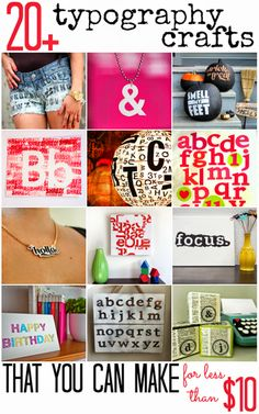 20  Typography Crafts that you can make for less than $10