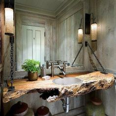 This #repurposed wood makes a stunning vanity.