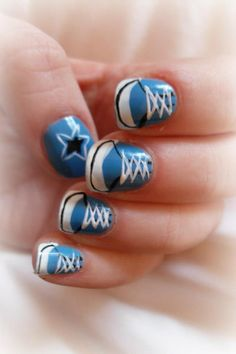 Converse Nail Art Design Zebra Nail Art, Star Nail Art, Cool Nail Art, Star Nail Designs, Cute Nail Designs, Acrylic Nail Designs, Converse Nail Art, Fun Nails, Pretty Nails