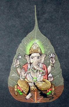 cerebralmuseum:  theworldpulse: Ganesha painted on a pippal leaf