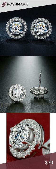 AAA Zircon Round Boucle White Gold Plated Studs White Gold Plated CZ diamond Jewelry AAA zircon Round boucle earrings Jewelry Earrings