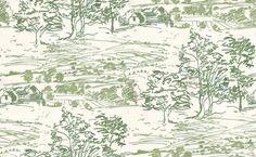 Sussex Downs Exclusive (212944) - Albany Wallpapers - 'Sussex Downs', is adapted from a spontaneous line drawing of the countryside in Sussex. The design depicts trees in the foreground with the rolling Sussex Downs fading into the distance. Shown in fresh green. Please request a sample. Exclusive Sanderson colourway!