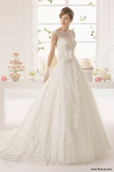 aire barcelona wedding dresses 2015 azzuro cap sleeve wedding dress illusion lace bodice full view