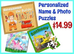 MEGA Puzzle SALE!!! 7 Days Only! - Personalized Kids Puzzles with Name & Photo Get ready for Christmas early with this limited time MEGA SALE
