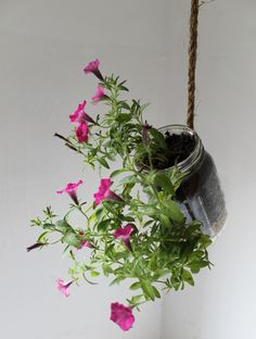 Hanging Mason Jar Planter with drainage - Upcycled home & garden decor - Quart Sized Ball Jar herb and flower planter - BootsNGus design. $15.00, via Etsy.
