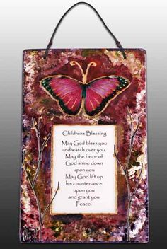 Children's Blessing with Butterfly by ART on Glass Studio. American Made. See the designer's work at the 2016 American Made Show, Washington DC. January 15-17, 2016. americanmadeshow.com #americanmadeshow, #americanmade, #glass, #artglass, #childrensblessing, #blessing, #butterfly