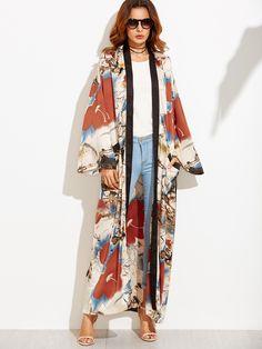 Multicolor Flower Print Contrast Trim Belted Maxi Kimono — 0.00 € color: Multicolor size: L,M,S,XS