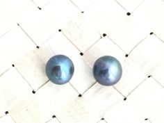 Freshwater Excellent Luster Blue Green 5mm Stud Pearl Earrings Cup Post w/ Peg & Earring Back Are Made of 14K GoldFilled-Beach Wedding-WOW82 by designbyAnnaLisa on Etsy