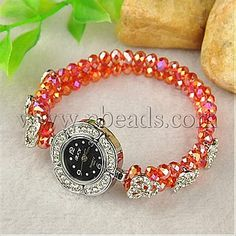Fashion Alloy Rhinestone Watch Bracelets, with Glass Beads and Alloy Rhinestone Spacer Bars, Platinum, Red<P>Size: about 52mm inner diameter, watch head: 32x39x7mm