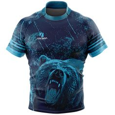 Grizzly Bear Rugby Tour Shirt from Scorpion Sports. Full sublimation rugby shirt in junior and senior sizes, printed with a Grizzly Bear themed pattern for Rugby Tour. Custom Basketball Uniforms, Soccer Uniforms, Soccer Shirts, Running Shirts, Sports Shirts, Rugby Outfits, Volleyball Kit, Rugby Jersey Design, Sport Shirt Design