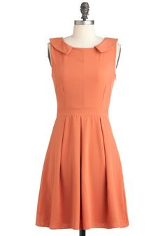 Demure in Luck Dress - Solid, Pleats, Work, Sleeveless, Fit & Flare, Mid-length, Orange, A-line, Coral, Collared