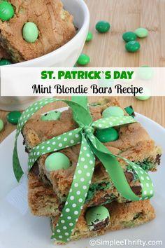 St Patricks Day Mint Blondie Bar Recipe
