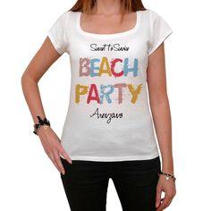 Arenzano, Beach Party, White, Women's Short Sleeve Rounded Neck T-shirt