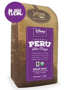 Organic & Fair Trade Alto Mayo Peru Coffee in the Disney Parks and Resorts Specialty Coffee Collection - Joffrey's Coffee & Tea Company Bulk Nuts, Tea Companies, Coffee Beans, Disney Parks, Fair Trade, Resorts, Peru, Organic, Collection