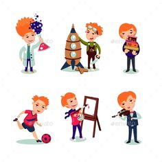 Buy Boys Hobbies Collection by VectorPot on GraphicRiver. Boys hobbies collection with scientific engineering painting musical and sport interests isolated vector illustration. Superhero Kids, People Icon, Vector Icons, Musicals, Learning Music, Hobbies, Game Happy, Boy Character, Clip Art