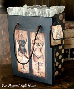 Ideas for my cigar boxes.  Also cute to add lace to a special gift bag.
