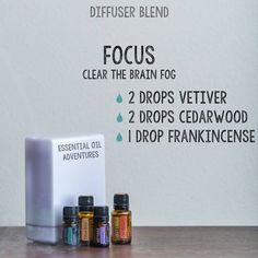 doTERRA Diffuser Blend Focus (Clear the Brain Fog) 2 drops Vetiver 2 drops Cedarwood 1 drop Frankincense www.mydoterra.com/essentialoiladventures