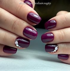 Fall nails 2017, Fall nails trends, Nails for September 1, Nails with rhinestones, Plum nails, School nails, September nails, Short nails 2017