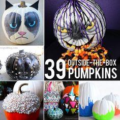 Halloween - 39 Outside-The-Box Pumpkin Ideas Holidays Halloween, Halloween Treats, Halloween Pumpkins, Fall Halloween, Happy Halloween, Halloween Decorations, Halloween Party, Halloween Quotes, Halloween Witches
