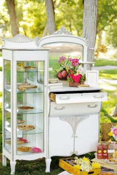 Vintage dresser converted into a pie case ~ very cool :+) #diy #party #furniture