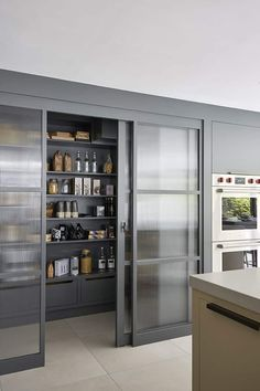 Kitchen Pantry Doors, Glass Pantry Door, Pantry Cupboard, Kitchen Pantry Design, Kitchen Organization Pantry, Sliding Glass Door, Interior Design Kitchen, Kitchen Storage, Pantry Ideas