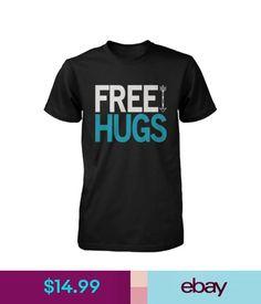 a659b7aef T-Shirts Men's Funny Graphic Tees - Free Hugs Black Cotton T-Shirt #