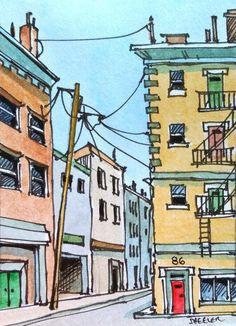 2014-10-04 13.38.06 | by Peter Sheeler Watercolor Art Landscape, Watercolor Architecture, Watercolor Sketchbook, Sketchbook Drawings, Watercolor Illustration, Landscape Art, Art Sketches, Watercolor Paintings, Art Drawings