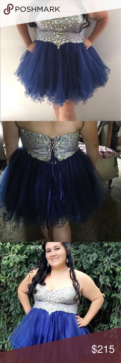 homecoming dress its a cute ruffled dress. wore for only a few hours. its a blue and silver dress. the top is heavy and the bottom may be a little short. im 5'2 and it came just past my butt in the back. its beautiful though. its a 20 and could go a little bigger because of the corset back. Dresses Prom
