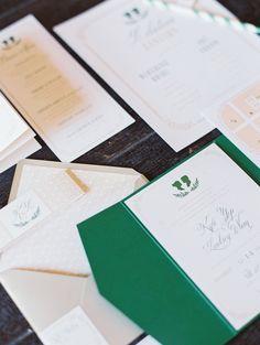 emerald wedding invitations, photo by Erich McVey http://ruffledblog.com/sierra-madre-wedding #weddinginvitations #stationery #green