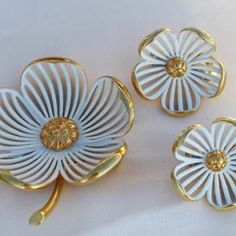 MONET Flower Brooch Pin and Clip Earrings